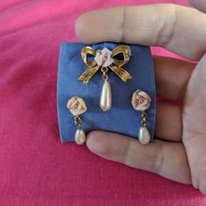Rose Pearl and Gold Earrings and Pin set